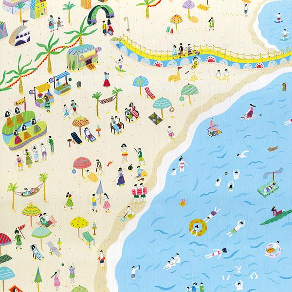 海水浴場のイラスト(「鈴木なるみ」のPR画像)